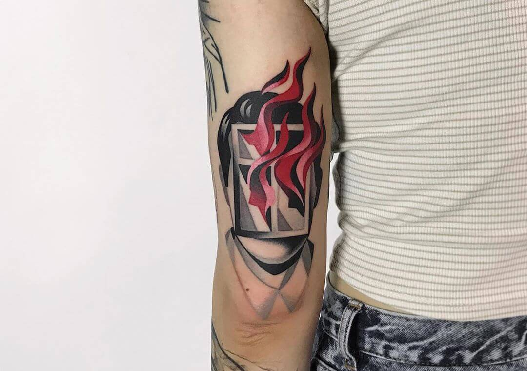 Face with burning window tattoo by Denis Marachin