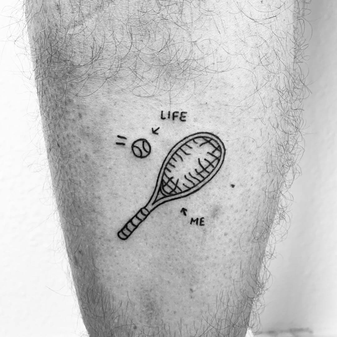 Tennis racket with hole represents me, the ball represents life, tattoo by Escozcc
