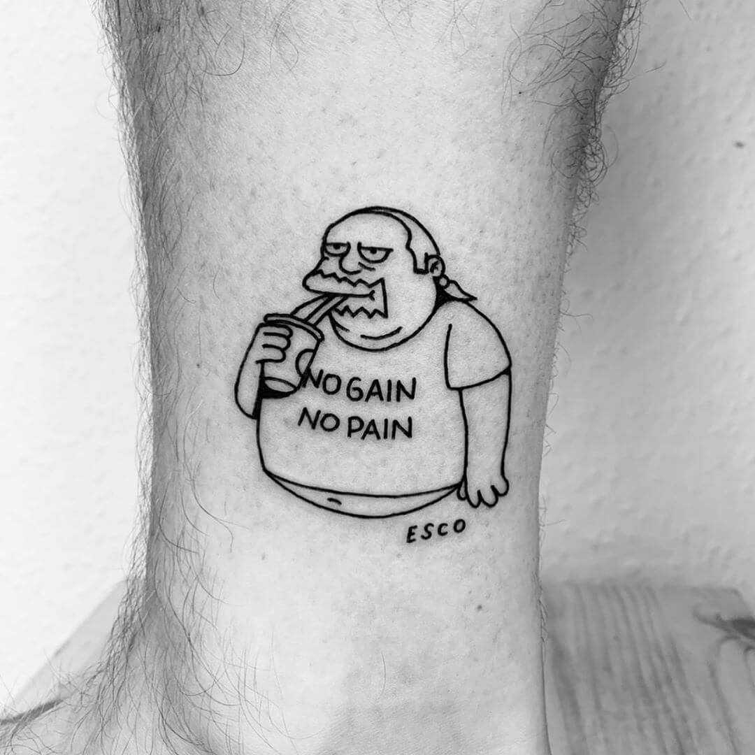 The simpsons no pain no gain tattoo by Escozcc