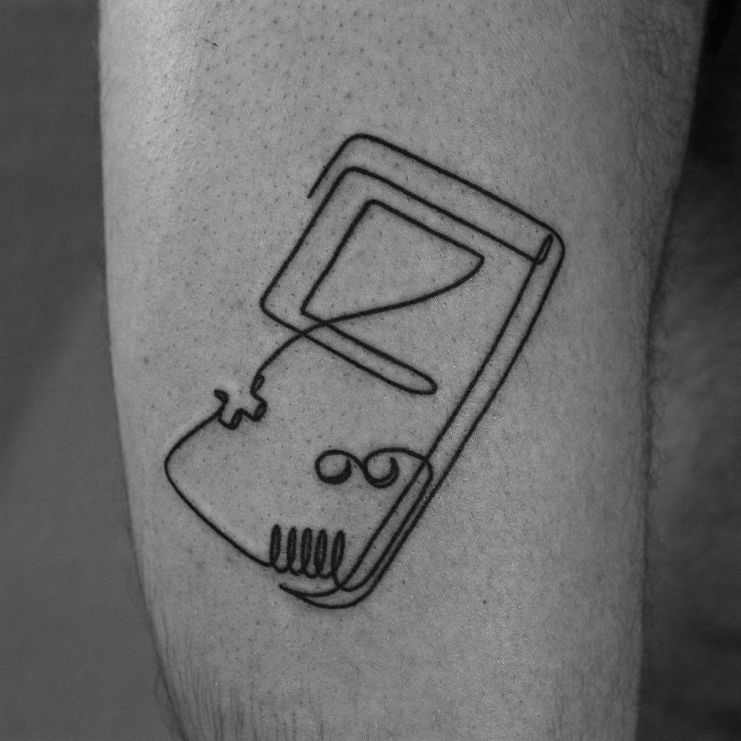 Game Boy minimal line tattoo