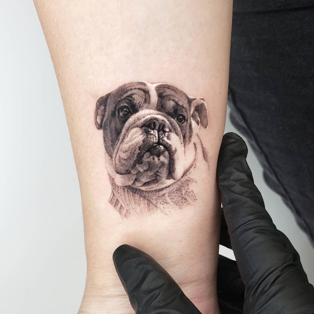Bulldog tattoo by Goldy_z