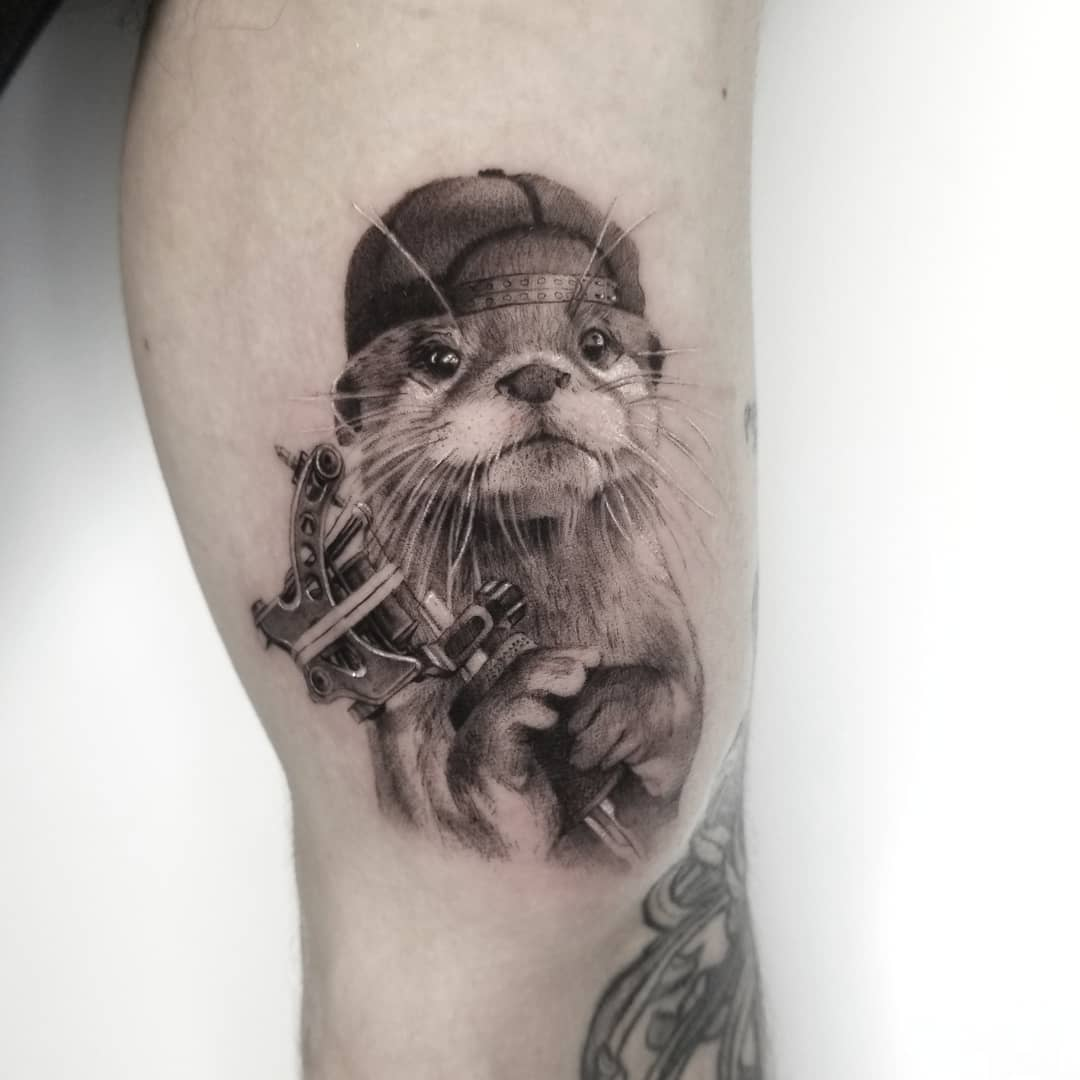 Cool otter with tattoo machine tattoo by Goldy_z