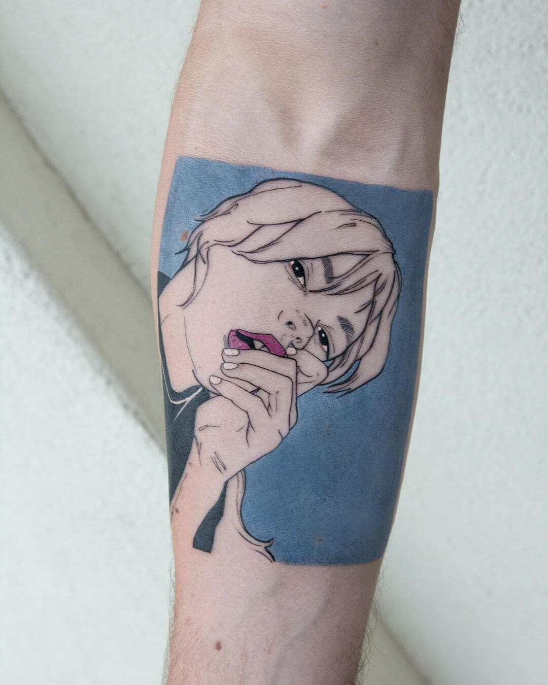 Badass woman portrait blue background tattoo by La Malafede
