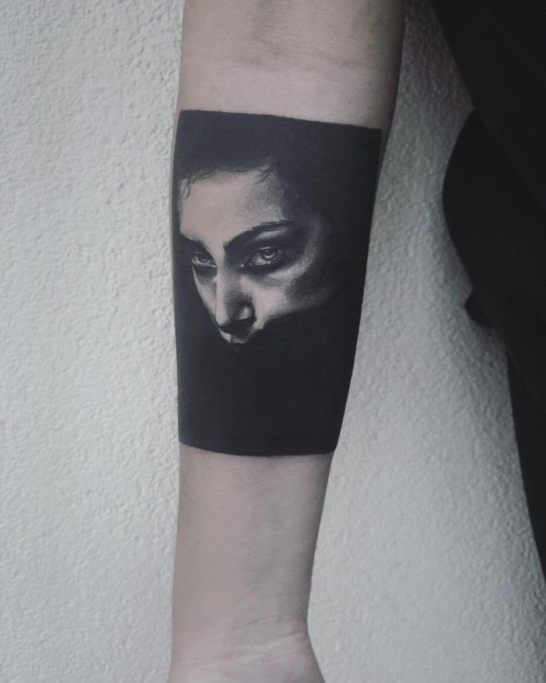 Blackwork portrait dotwork tattoo by La Malafede