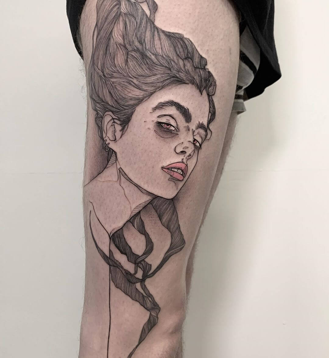 Detailed linework female portait tattoo by La Malafede