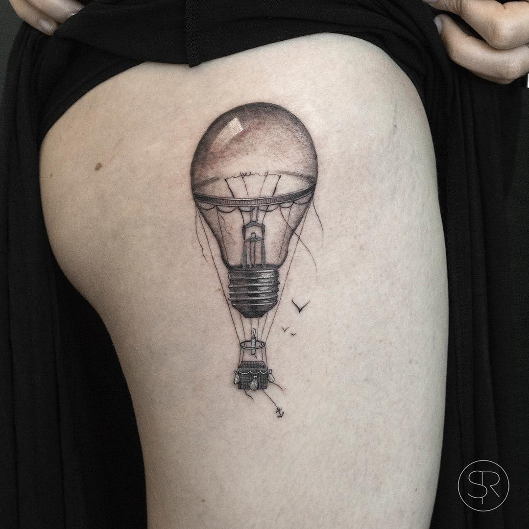 Lightbulb Hot air balloon tattoo