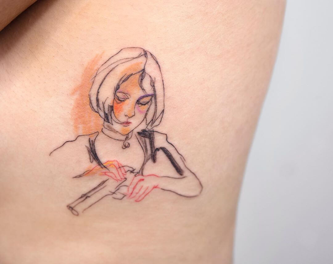 Tattoo of Mathilda from the movie Leon loading a gun by Pauline tattoo