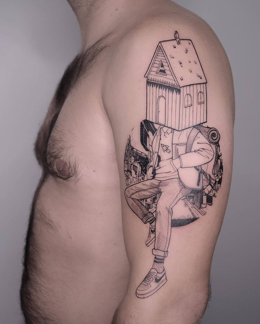 Traveling man with birdhouse for a head, tattoo Serena Caponera