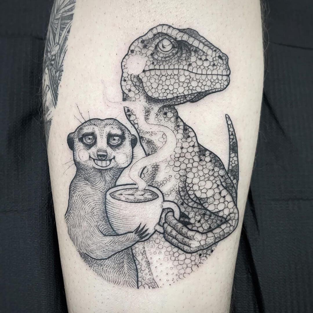 Illustrative T-rex and meerkat sharing a coffee, tattoo by Suflanda