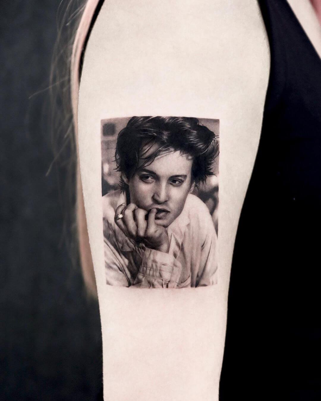Johnny Depp portrait tattoo by Yeono
