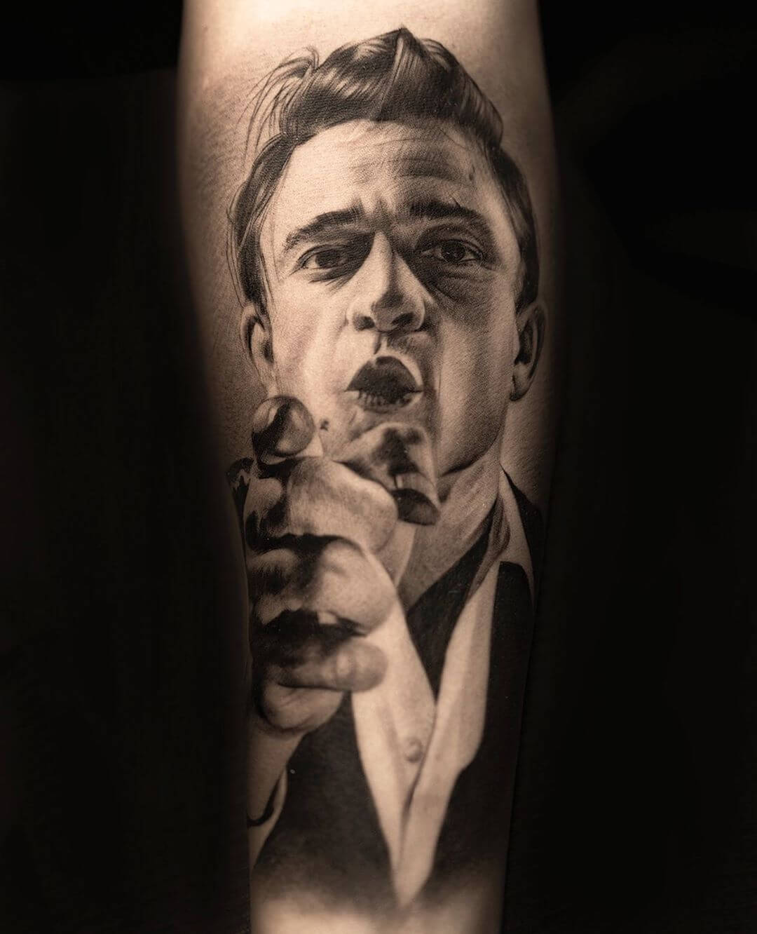 Portrait of Johnny Cash tattoo by tdantattoo