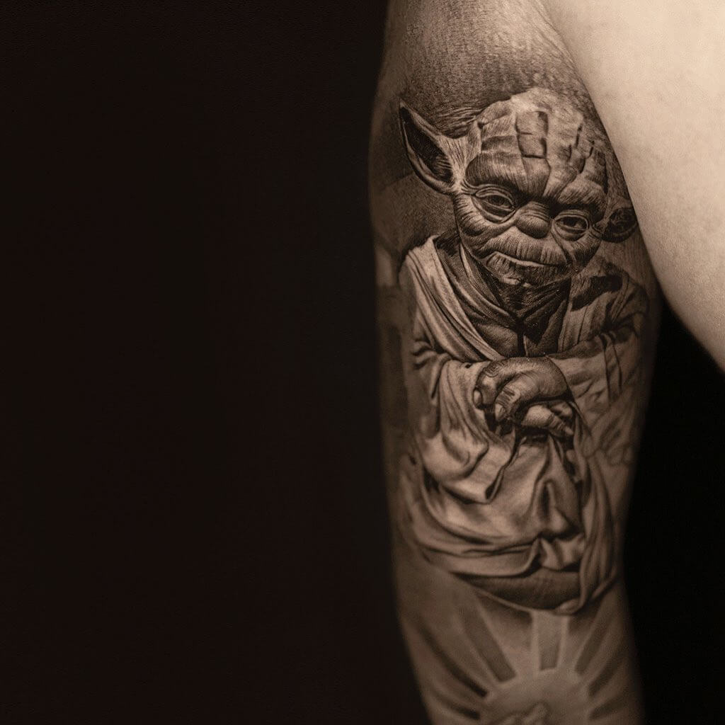 Portrait of Yoda from Star Wars tattoo by tdantattoo