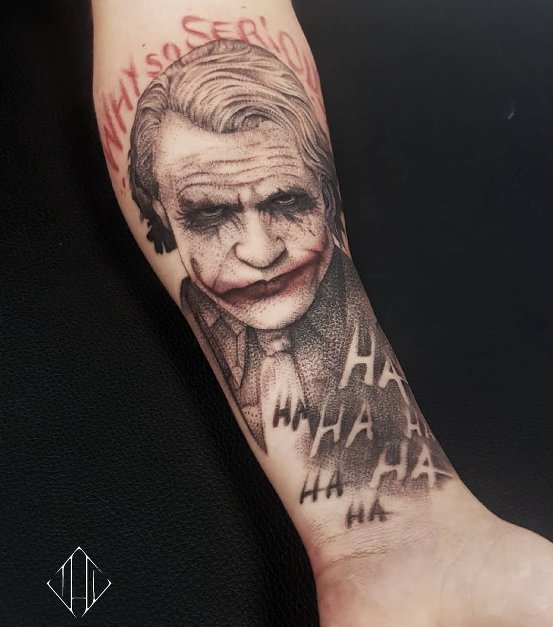Tattoo Heath Ledger as The Joker with the Why So Serious quote