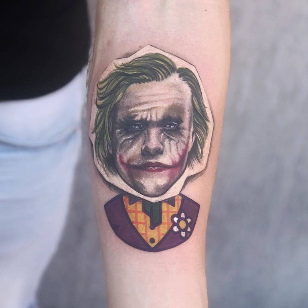 A comic version of Heath Ledger playing The Joker