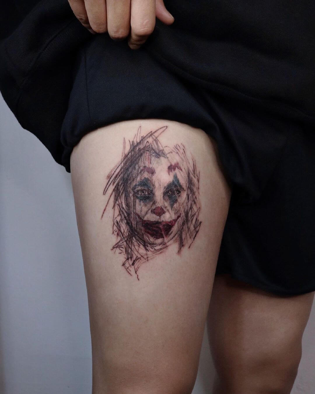 Sketchy tattoo portrait from The Joker