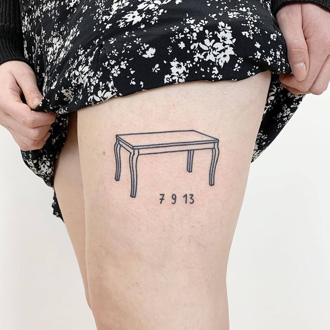 Minimal table tattoo by The Magic Rosa
