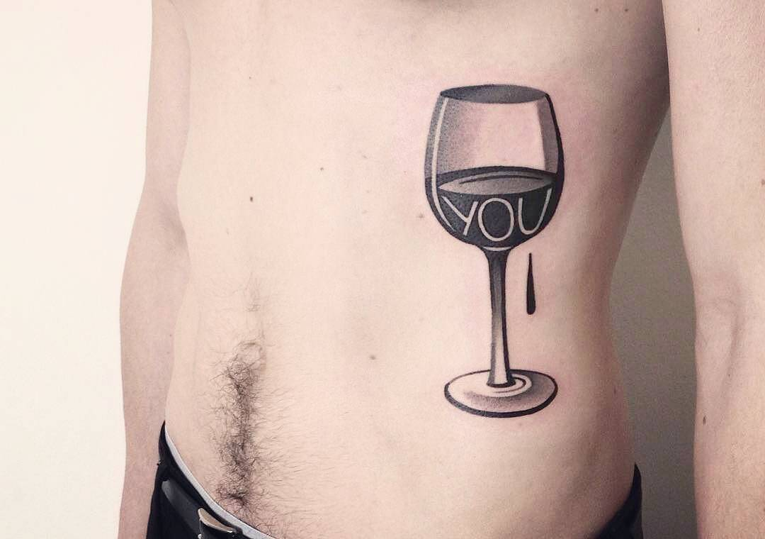 Wine glass missing you tattoo