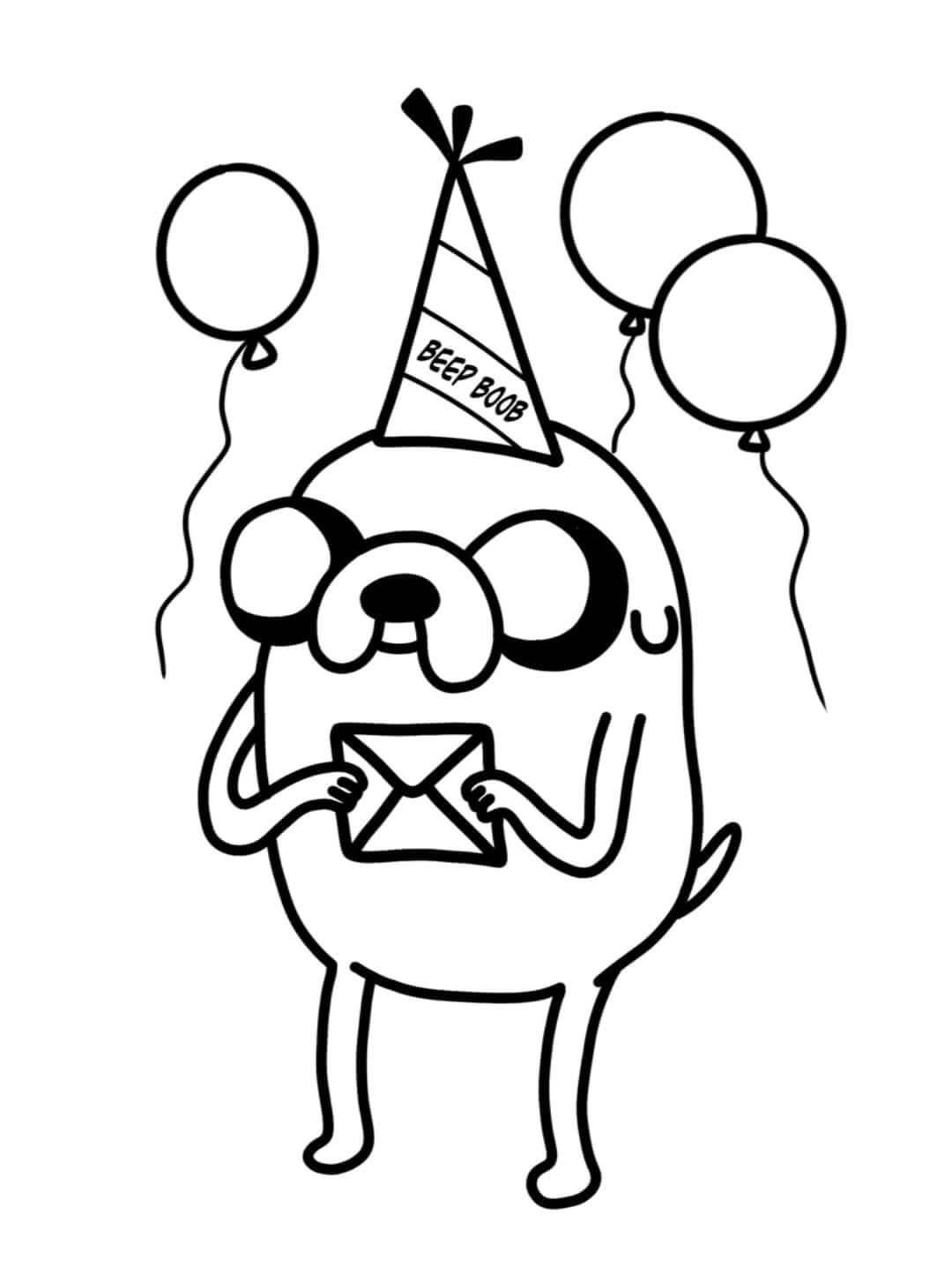 Jake the dog from Adventure Time with a party head with a funny word on it
