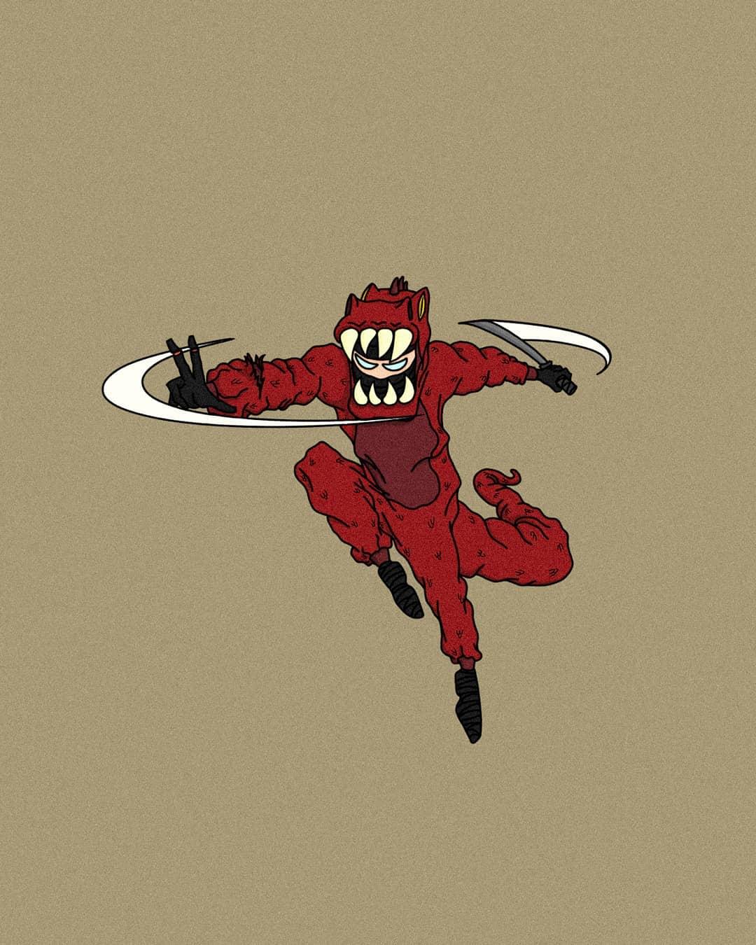 A ninja in a T-rex suit