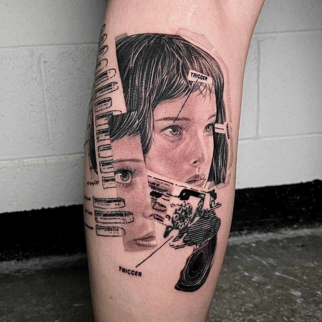 Collage showing Mathilda from the movie Leon, tattoo by Comma ttt