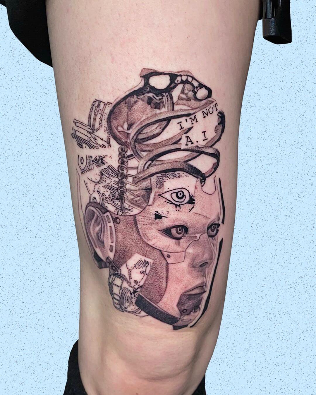 Cyber themed tattoo by Comma ttt