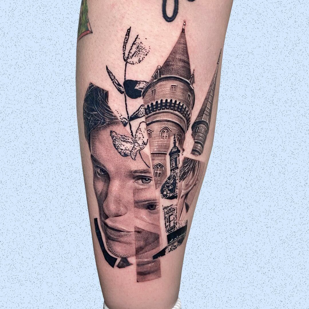 Tattoo collage representing the movie Fantastic Beasts and Wher to find them