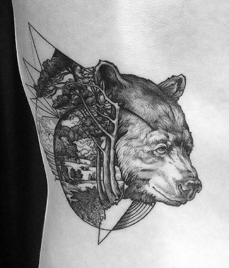Bear with forrest tattoo