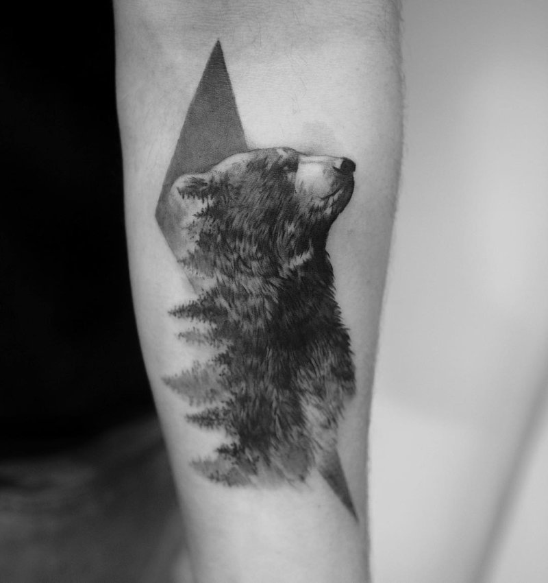 Bear in the forrest tattoo