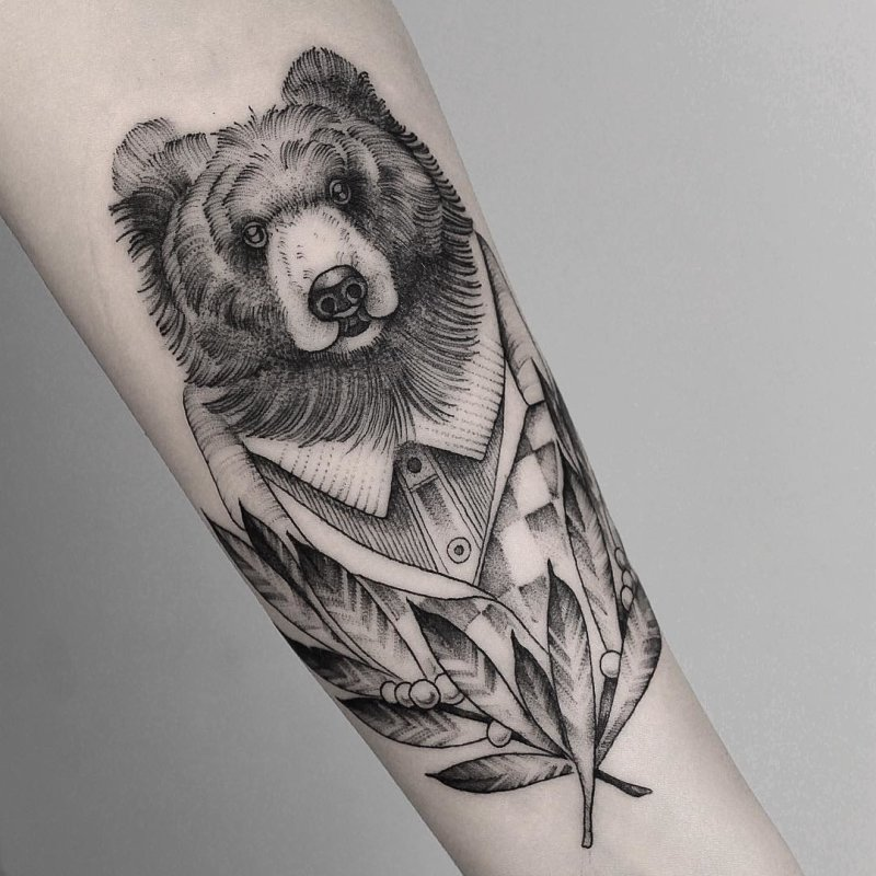 Bear with jacket tattoo