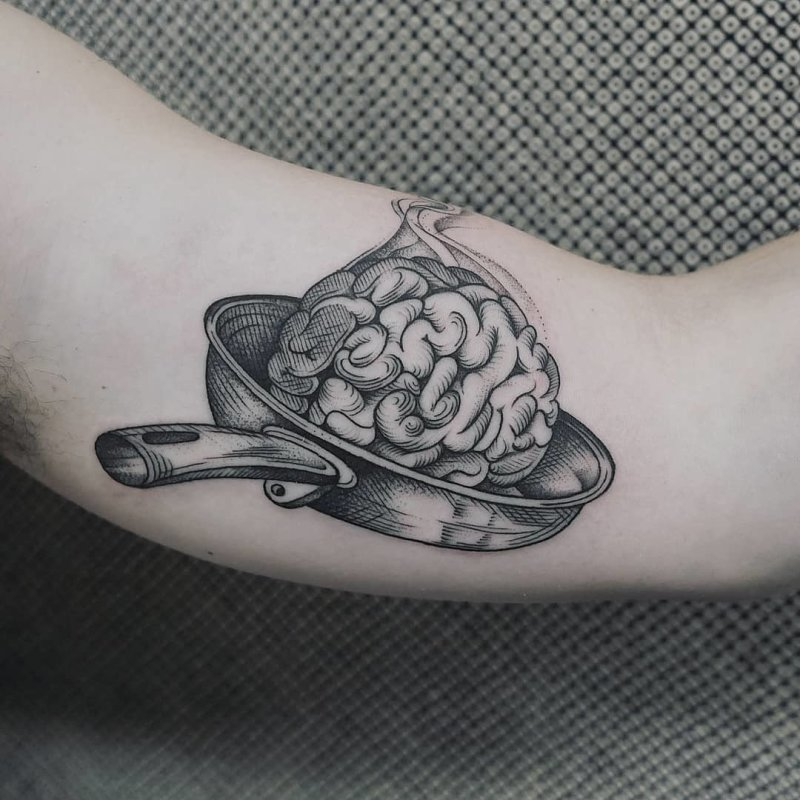 Brain in a pan tattoo