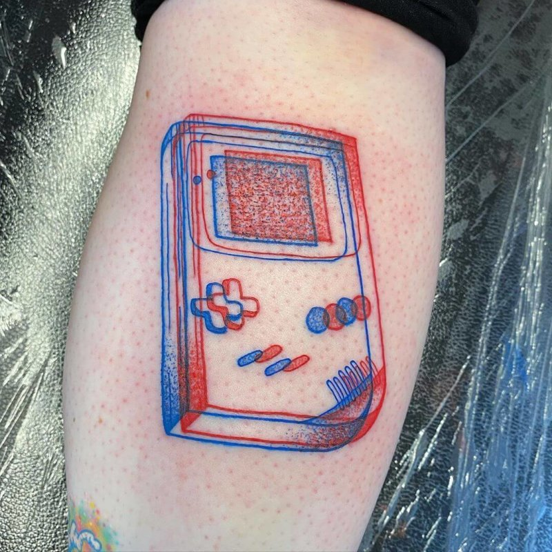 3D red blue lined Game Boy tattoo