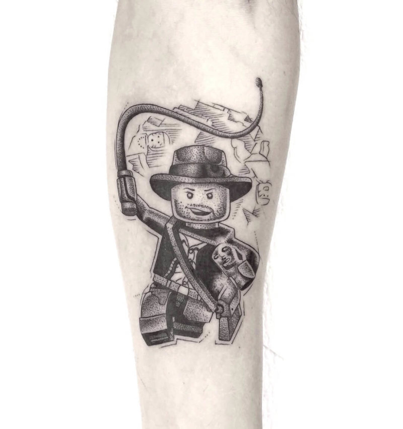 Lego figure without head tattoo