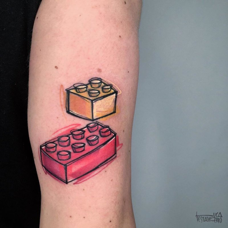 Lego bricks color tattoo