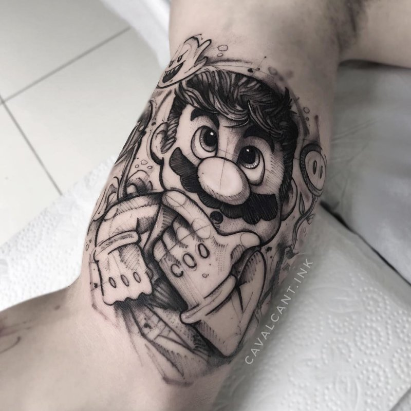 Tattoo portrait of mario