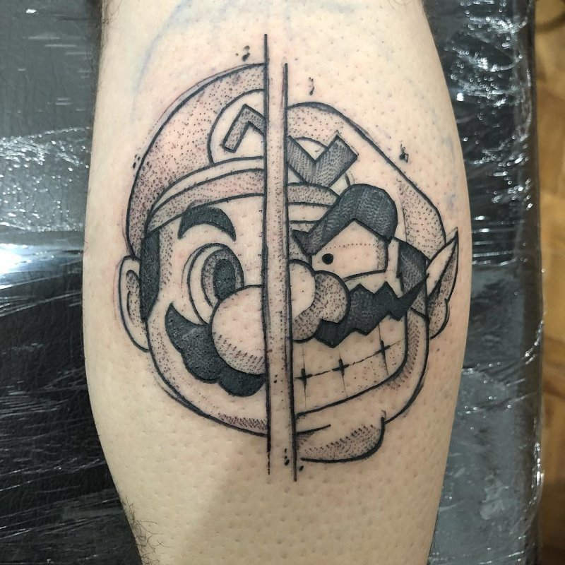 black super mario mushroom tattoo