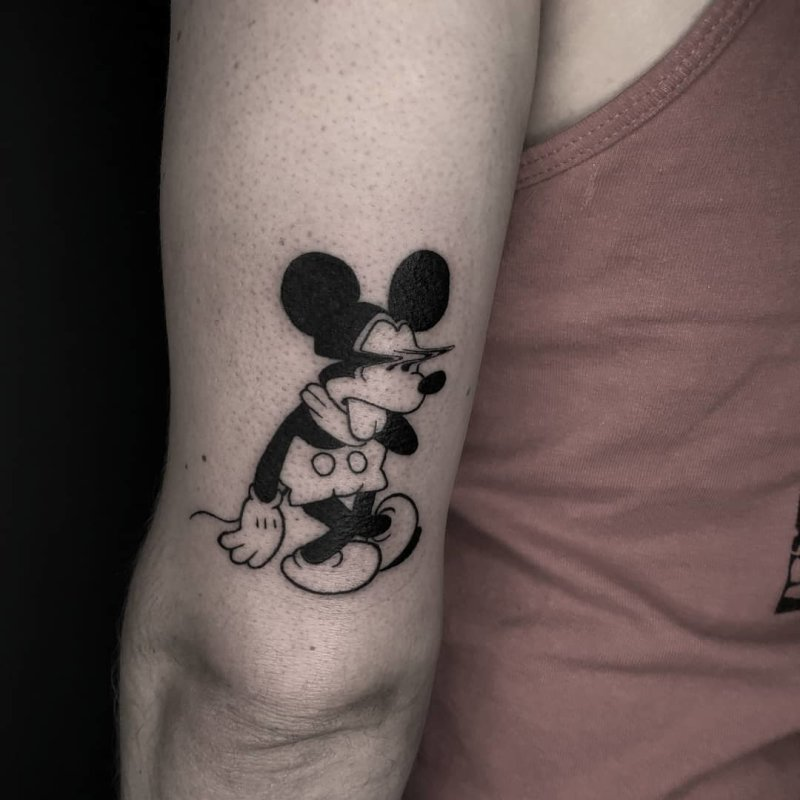 Mickey mouse tired tattoo