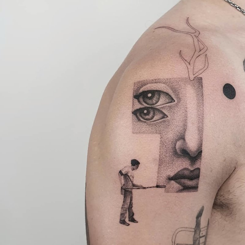 Painter painting a Fornasetti dotwork portrait tattoo