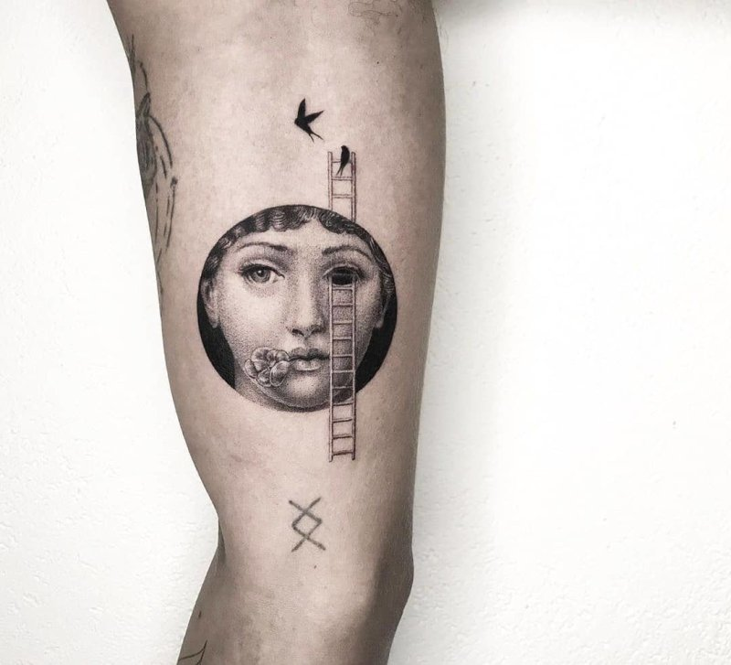 Fornasetti portrait in a circle with a ladder tattoo