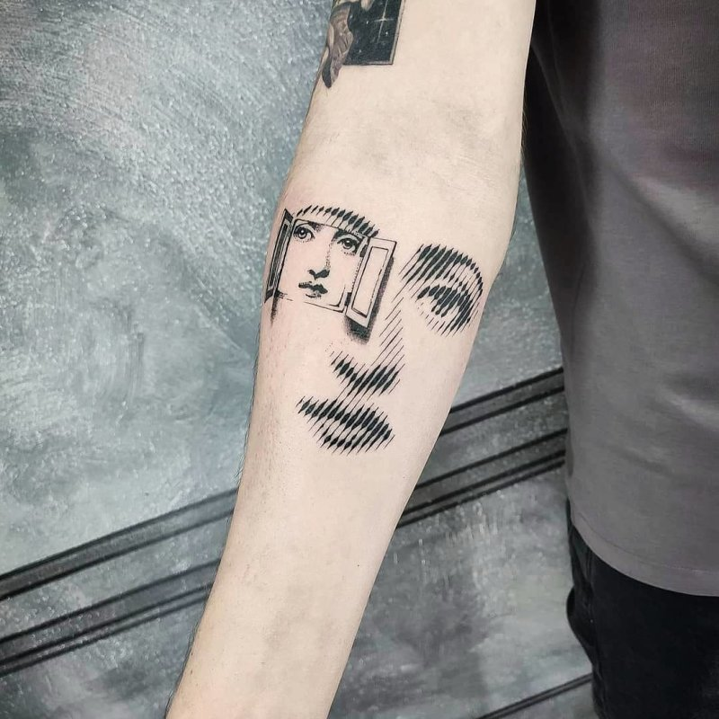 Fornasetti portrait with windows opening tattoo
