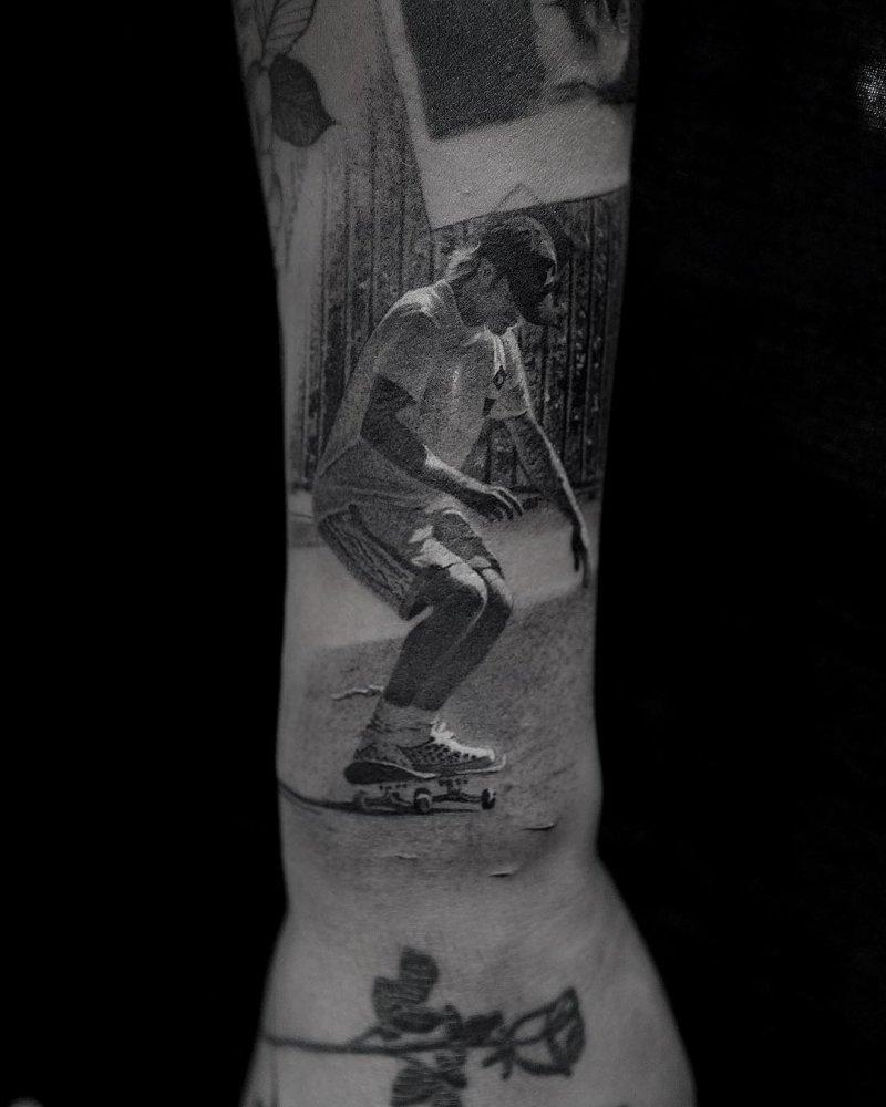 Tattoo portrait of a skateboarder