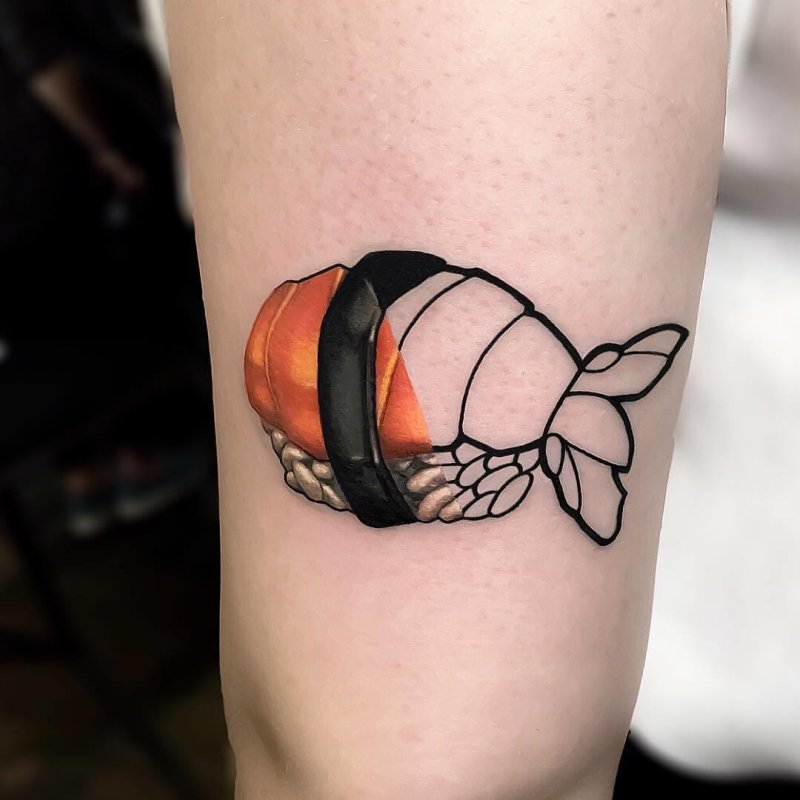 Mixed styles salmon sushi tattoo
