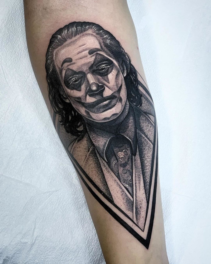 Tattoo portrait of Joaquin Phoenix as The Joker
