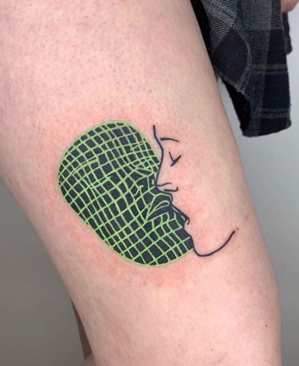 Girl kissing computer face tattoo by Blaabad