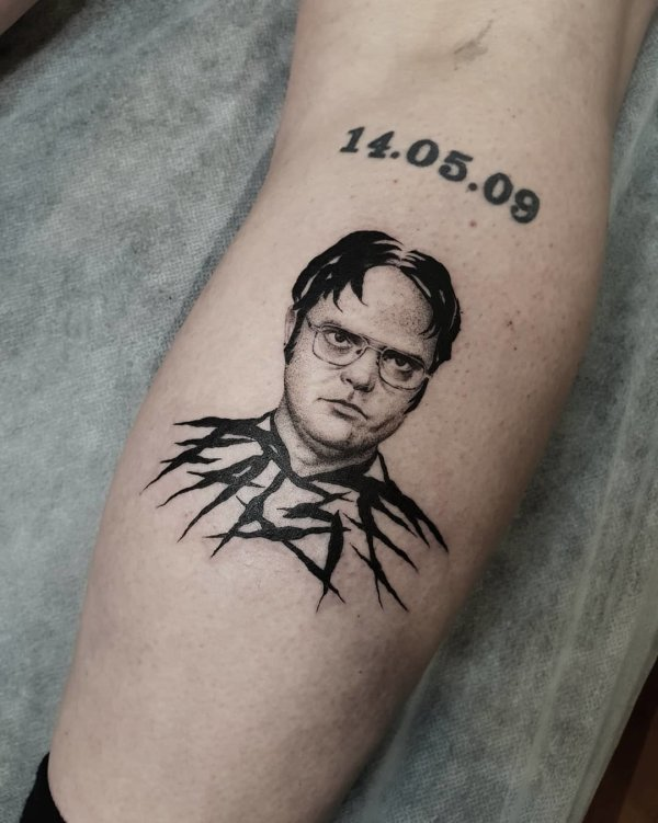 Dwight from the Office with tribal body tattoo by Breakkytime