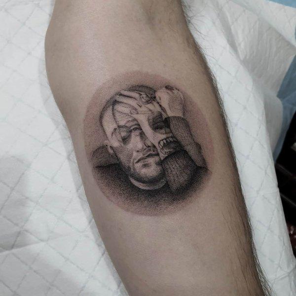 Mac Miller distorted dotwork tattoo by Breakkytime