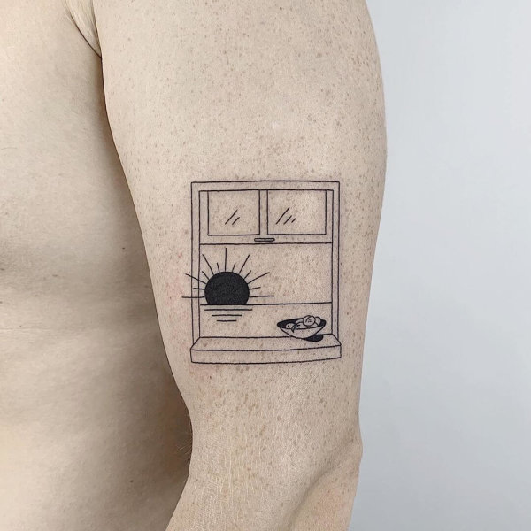 window scenery minimal tattoo by Sasha Butmaybe