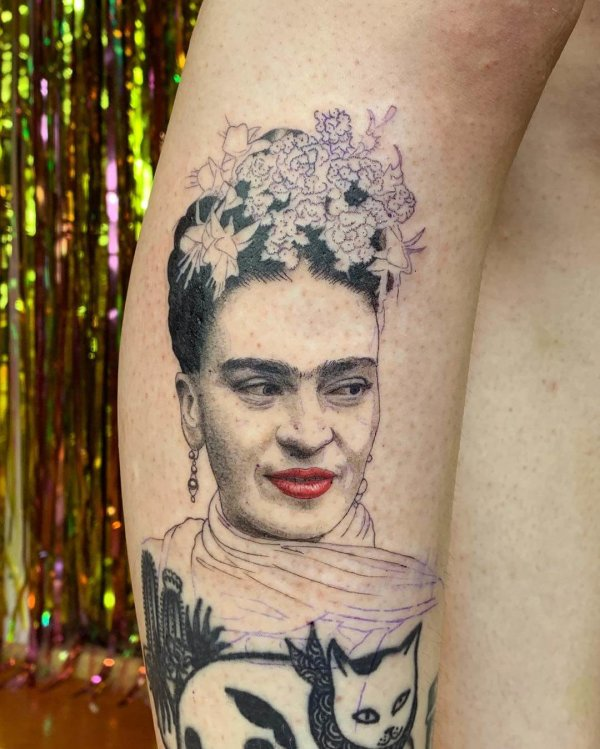Frida portait tattoo by Shannon Perry