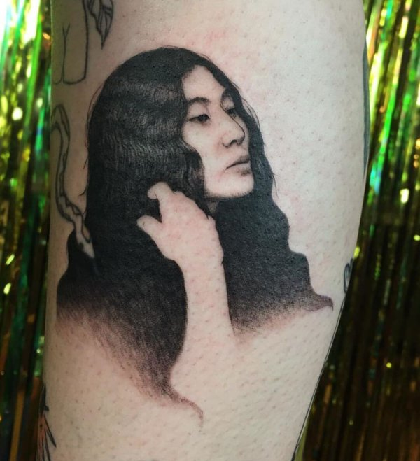 Yoko ono portrait tattoo by Shannon Perry