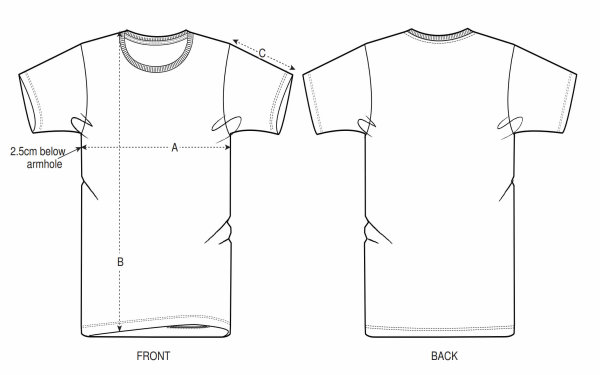 Shirt size illustration
