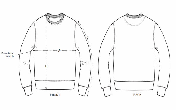 Sweater size illustration